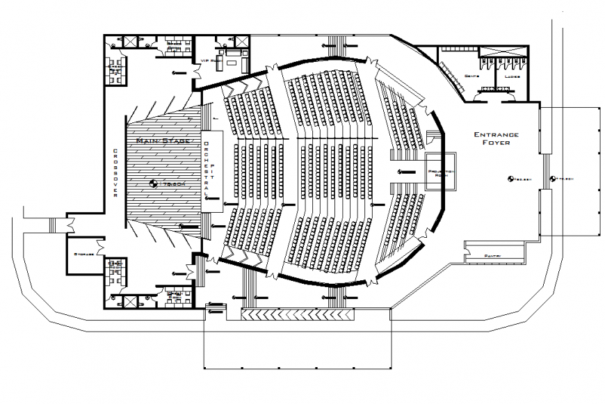 Detail of auditorium commercial plan layout file