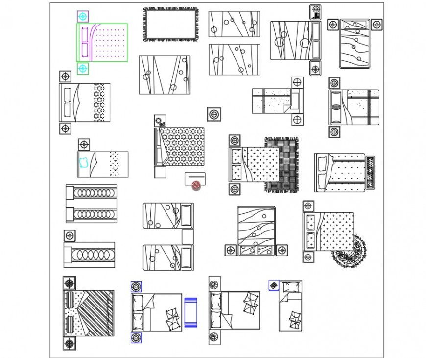 Detail of bed room plan dwg file