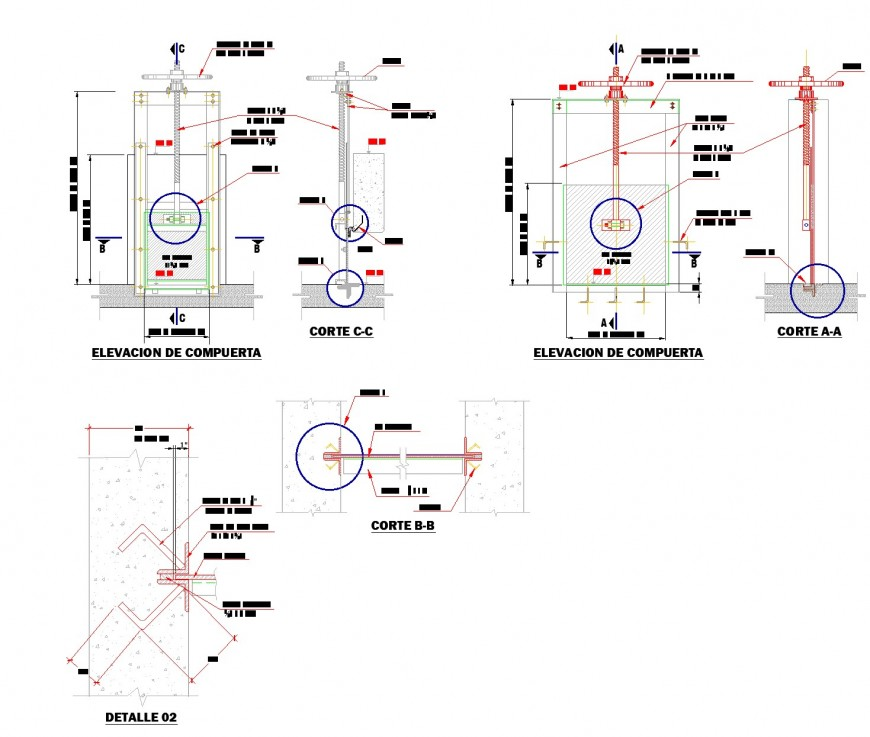 Detail of channel computer section plan autocad file