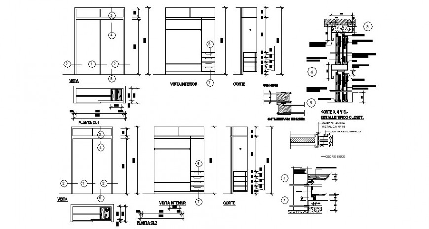 Detail of closet furniture block layout autocad file