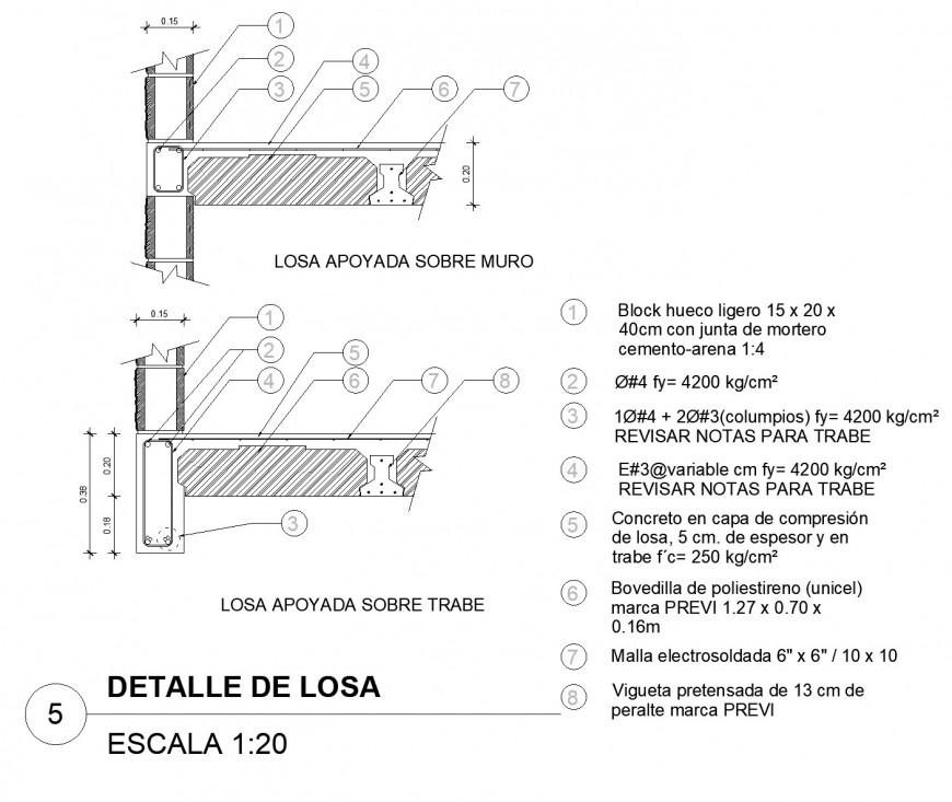 Detail of column joint slab dwg file