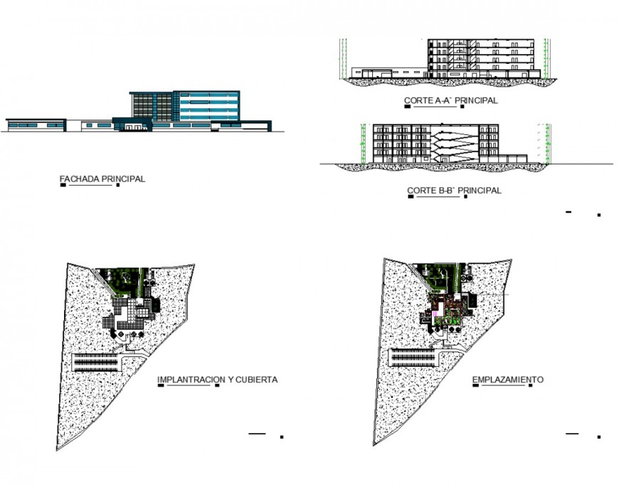 Detail of commerce building plan, elevation and section 2d view dwg file