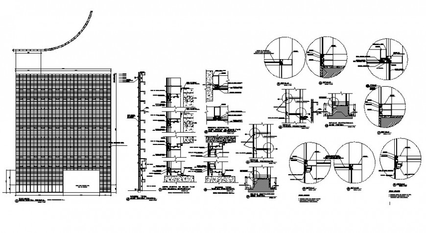 Detail of construction units section drawing in Autocad
