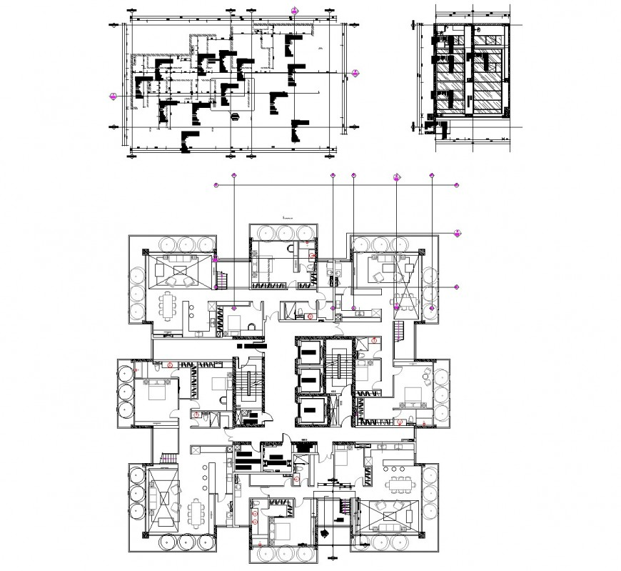 Detail of duplex plan and ceiling plan layout file