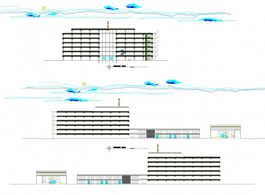 Detail of elevation commercial building plan layout file