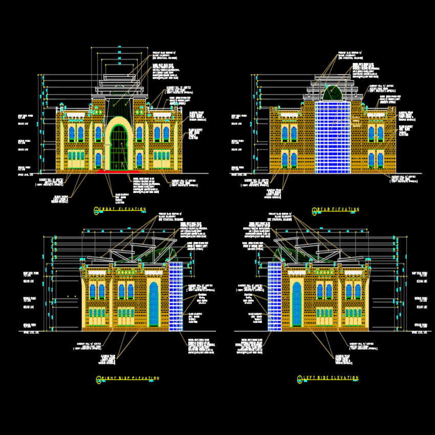Detail of elevation Islamic type museum autocad file