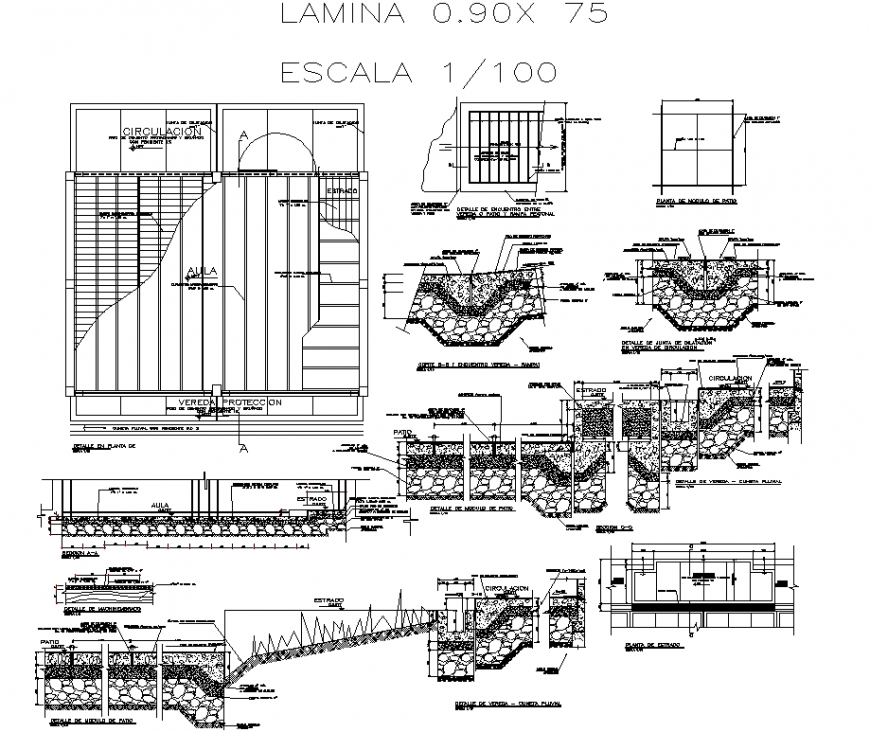 Detail of floor of a school plan and section autocad file