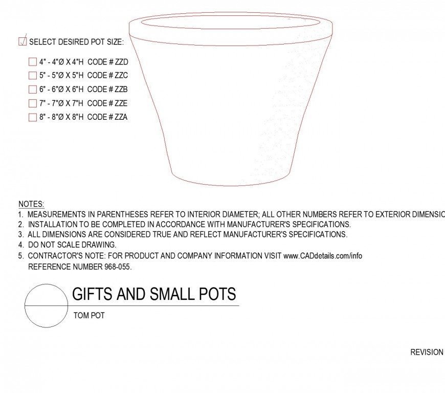 Detail of Gift and small pots layout file