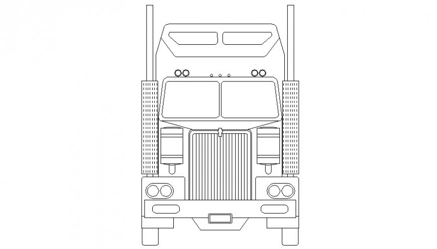 Detail of heavy loaded truck 2d view elevation dwg file