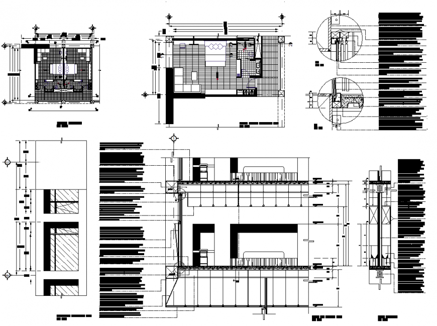 Detail of hotel room plan and elevation dwg file
