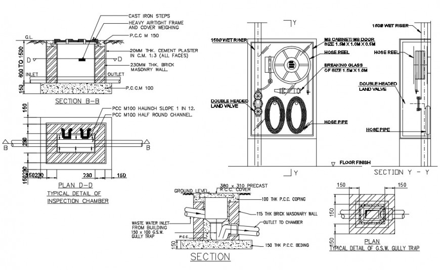 Detail of inspection chamber autocad file