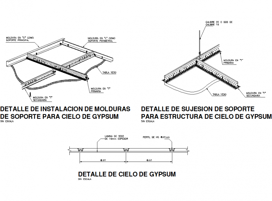 Detail of installation of support molding for cieelo de gypsum isometric view dwg file