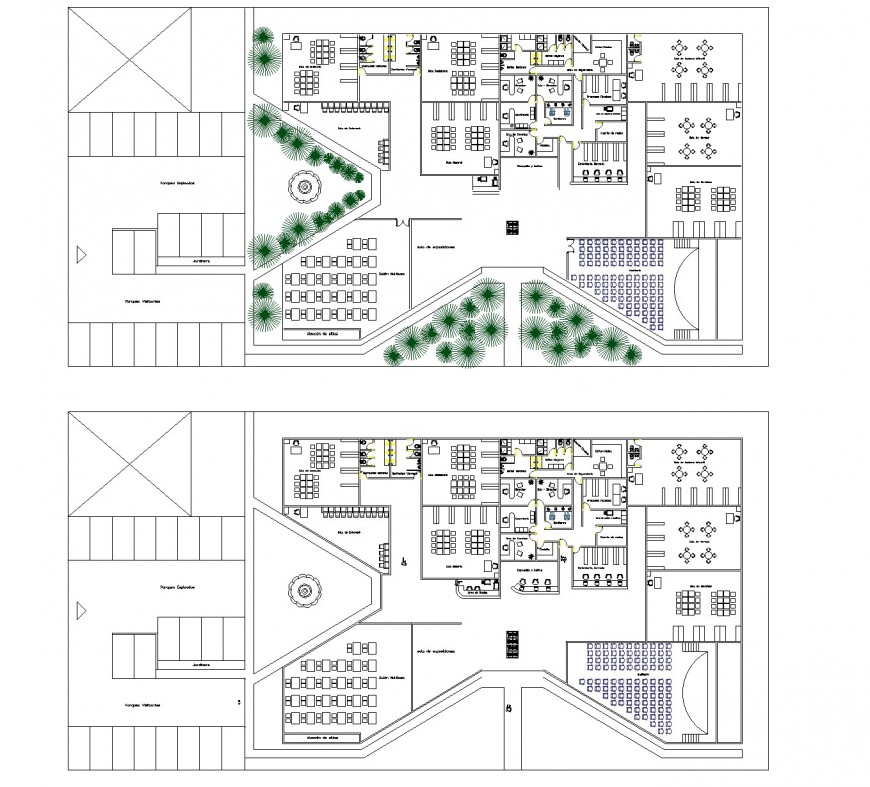 Detail of landscaping office plan autocad file