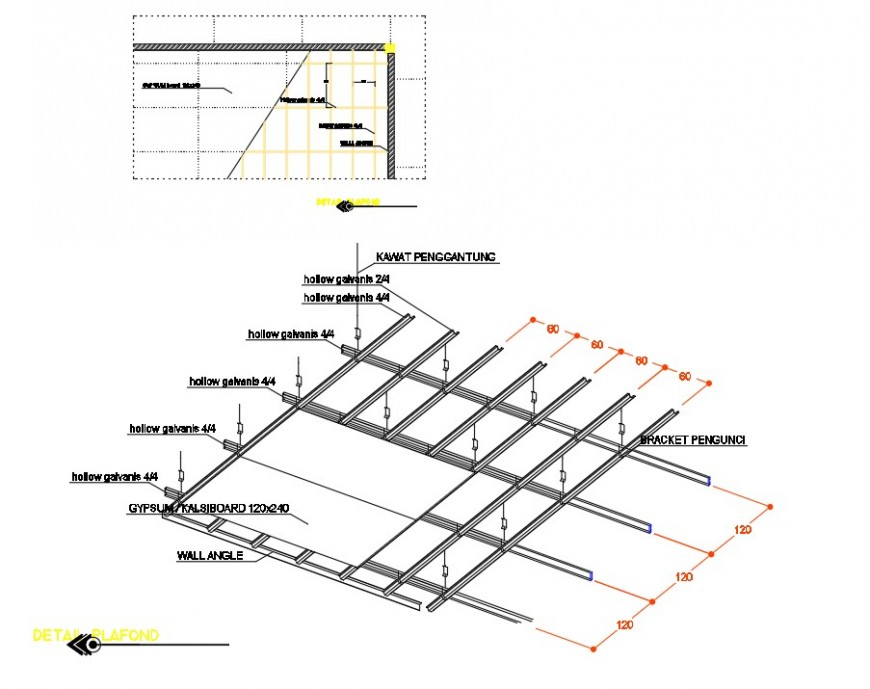 Detail of metal grating plan dwg file