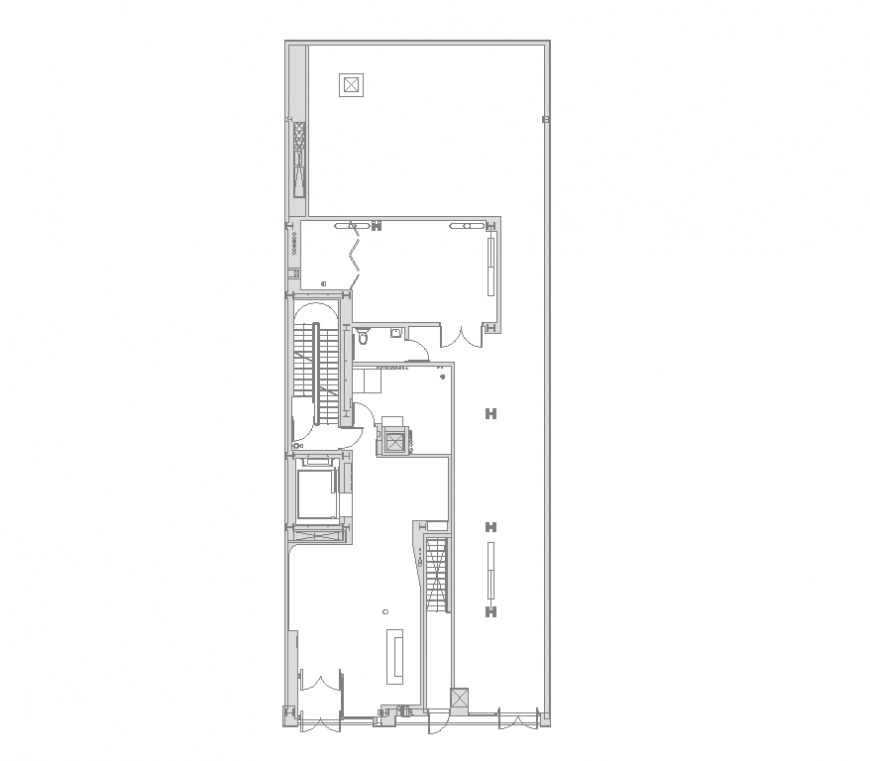 Detail of office building structure 2d view layout plan