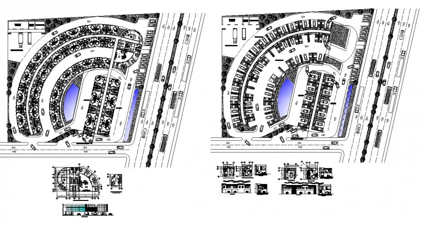 Detail of parking system 2d view CAD structural blocks layout autocad file