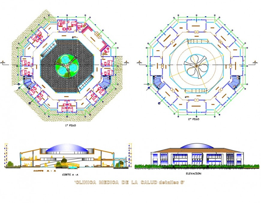 Detail of Plan, elevation and section clinic autocad file