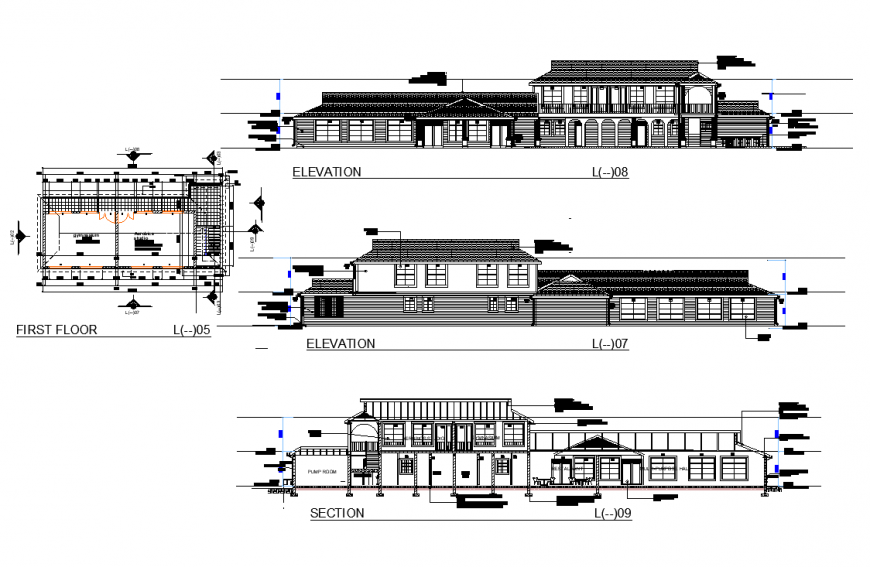 Detail of plan, elevation and section home autocad file