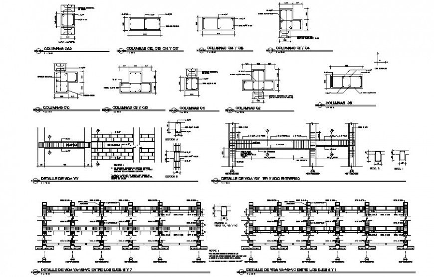 Detail of RCC structural units drawing in dwg format