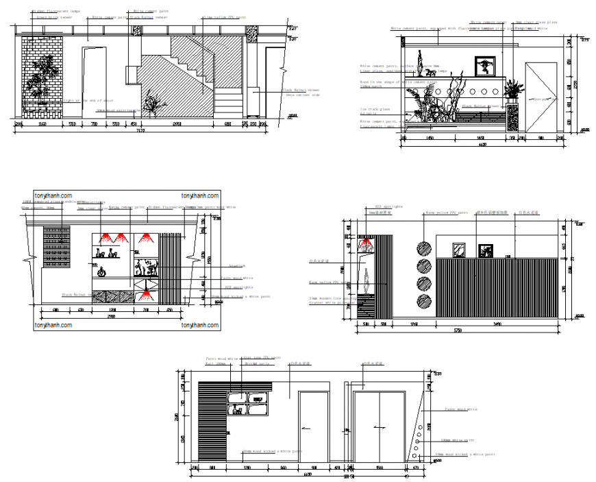 Detail of restaurant bar elevation and section autocad file