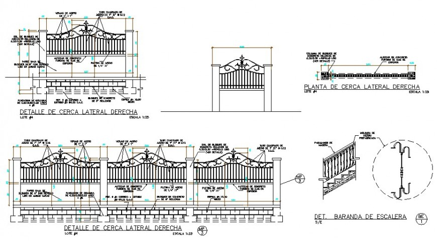 Detail of right side fence section plan autocad file