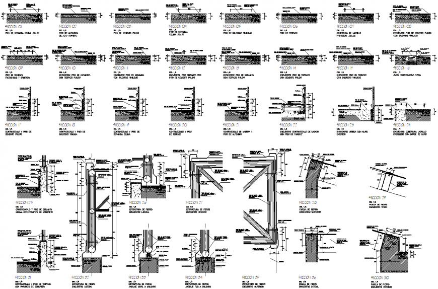 Detail of section floor design dwg file