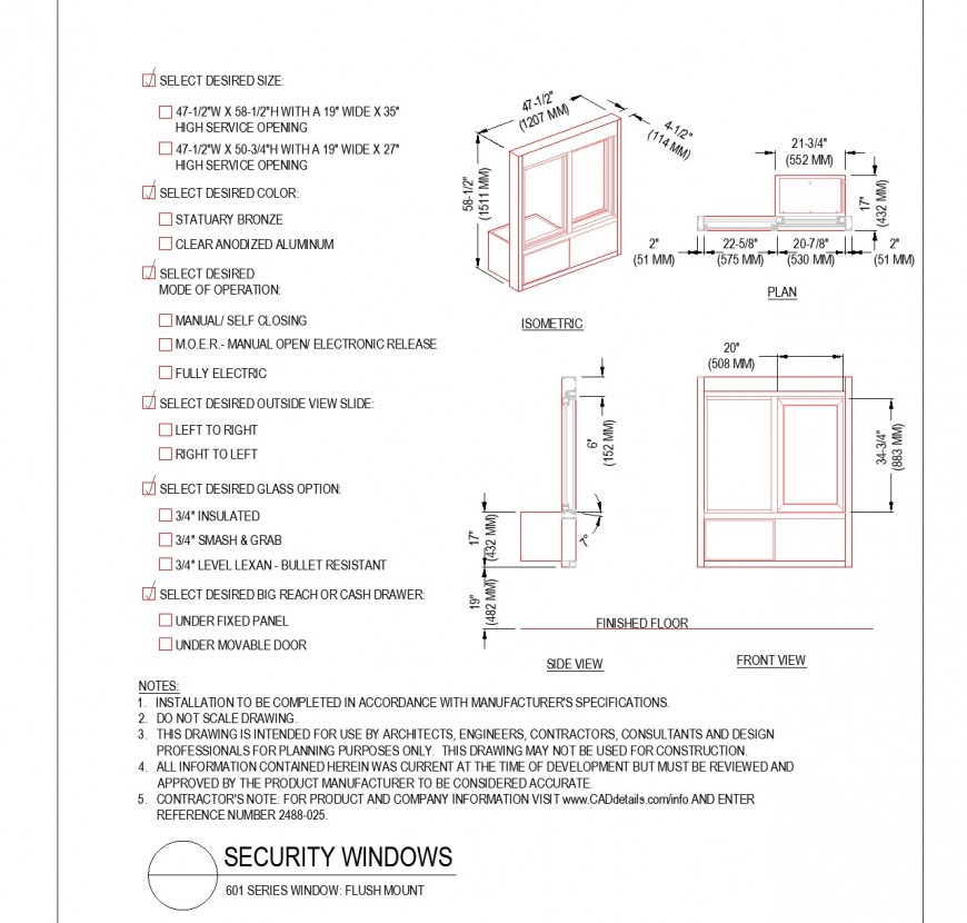 Detail of Security window plan dwg file