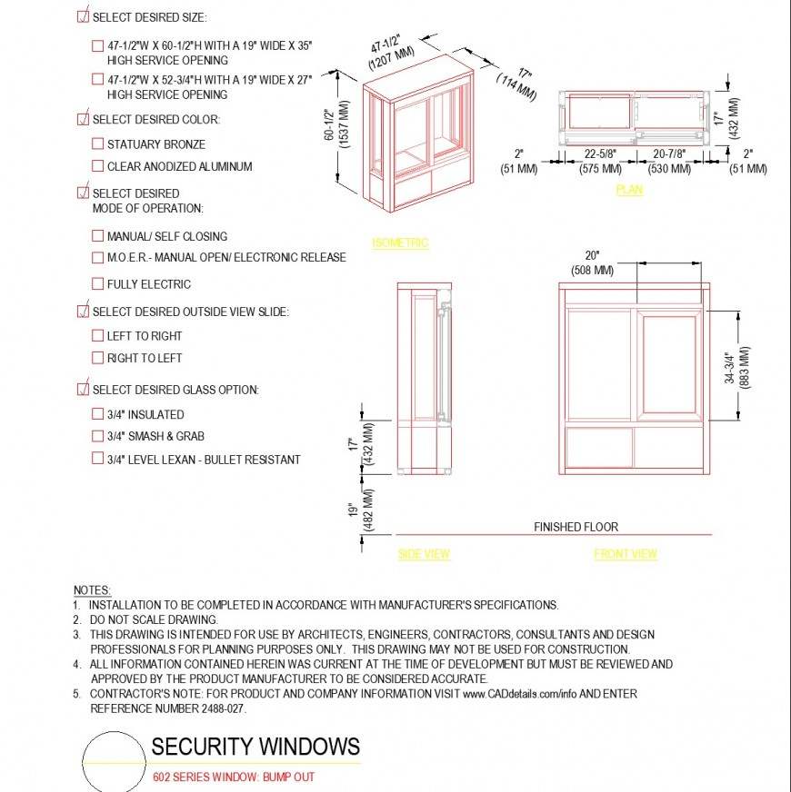Detail of Series window bump out plan autocad file