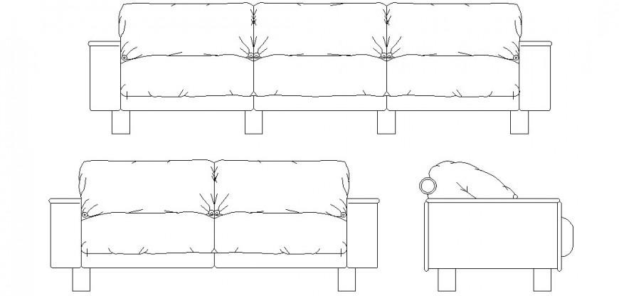 Detail of sofa elevation autocad file