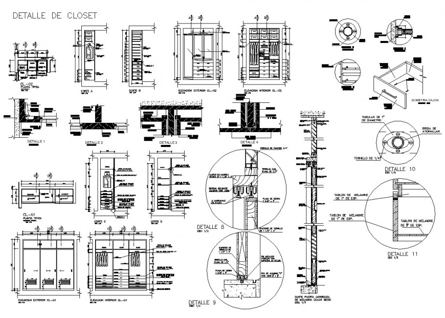 Detail of ward-robe closet 2d view CAD furniture blocks layout file in autocad format