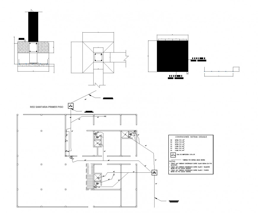 Detail of Water pipe line house plan dwg file