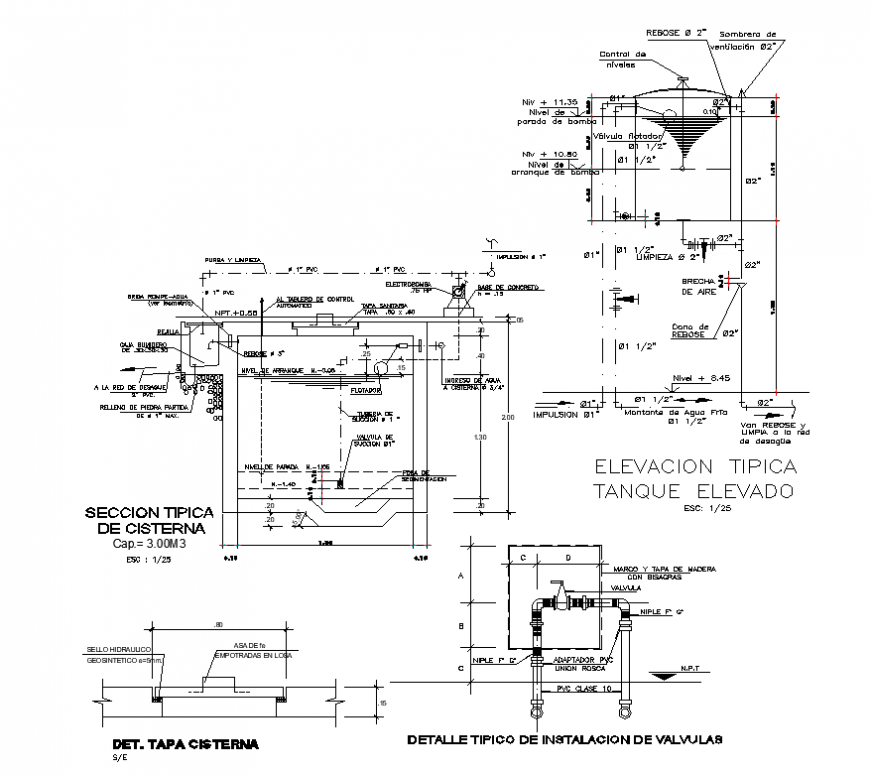 Detail of water tank 2d view layout autocad file