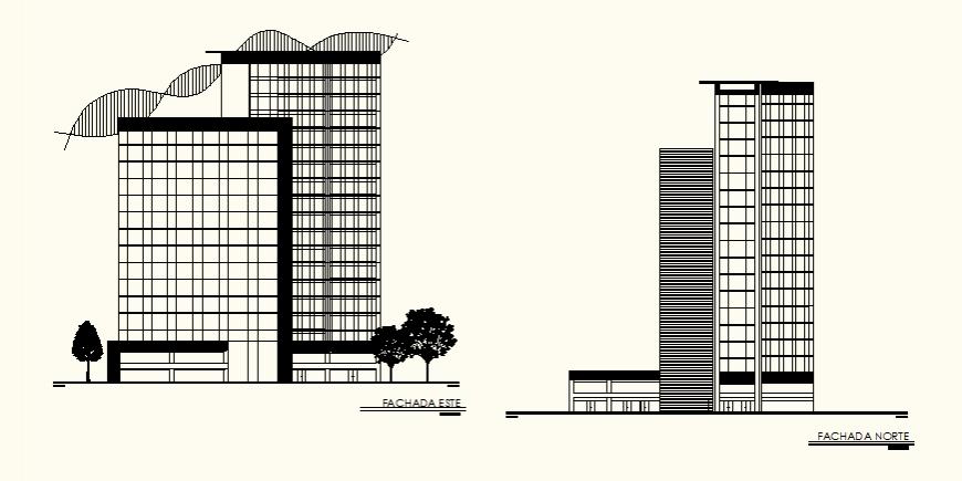 Detail office building elevation autocad file