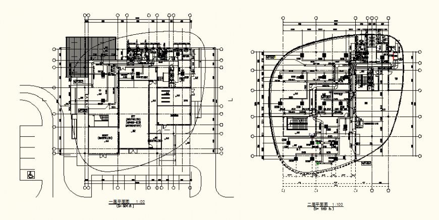 Detail office building plan view autocad file