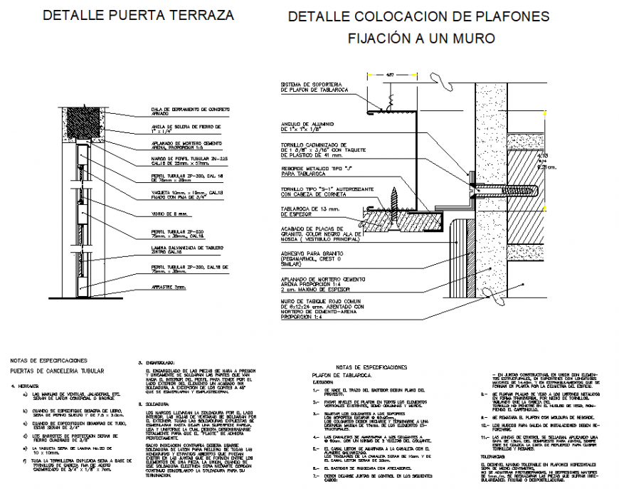 Detail placement of panels fixed to a wall section detail dwg file