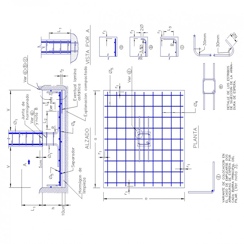Detail Plan and section foundation autocad file
