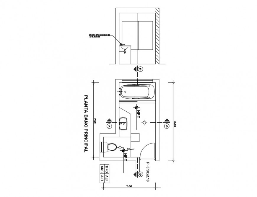 Detail plan and sectional detail of bathroom CAD sanitary block autocad file