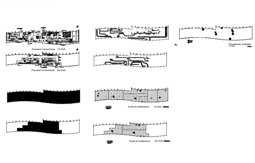 Detail plan of airport terminal building 2d view layout file in autocad format