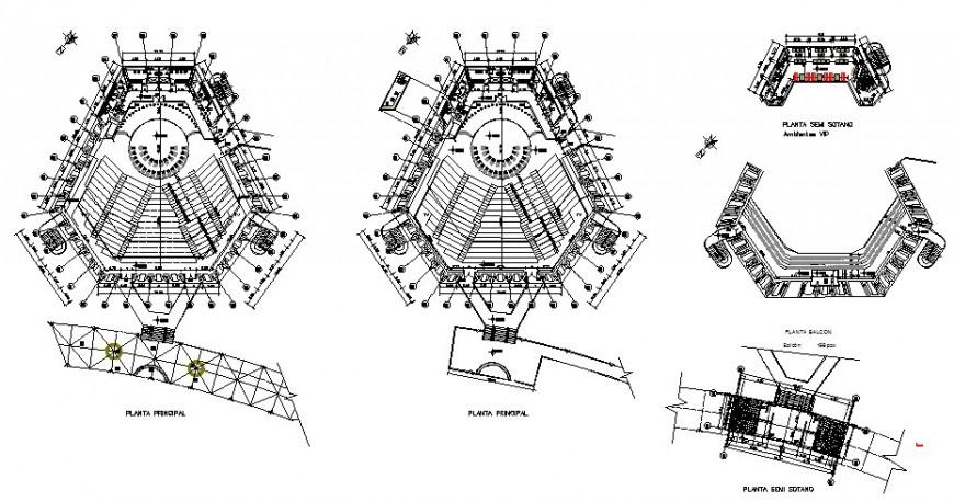 Detail plan of auditorium building structure 2d view layout dgw file