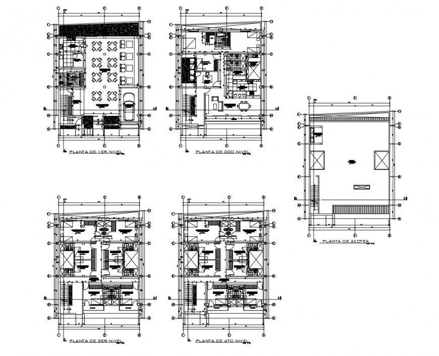 Detail plan of building with furniture 2d view layout file in dwg format