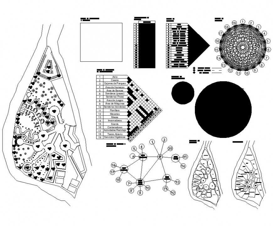 Detail plan of city architectural park layout CAD blocks autocad file