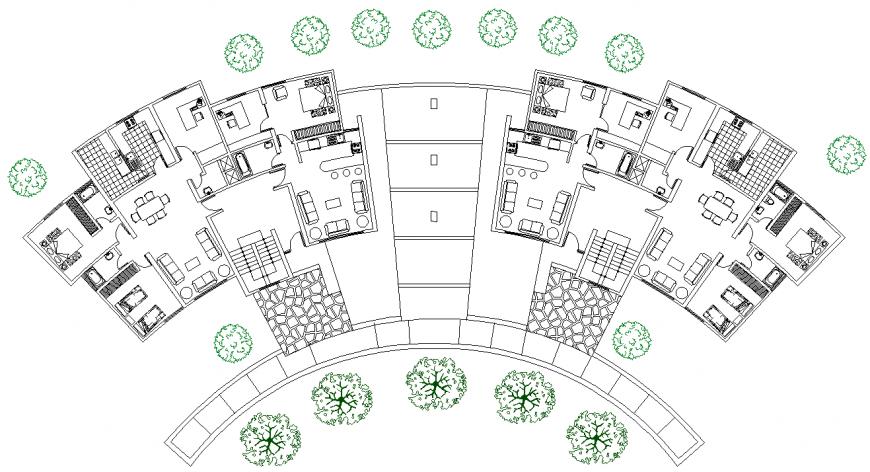 Detail plan of group housing in dwg file.