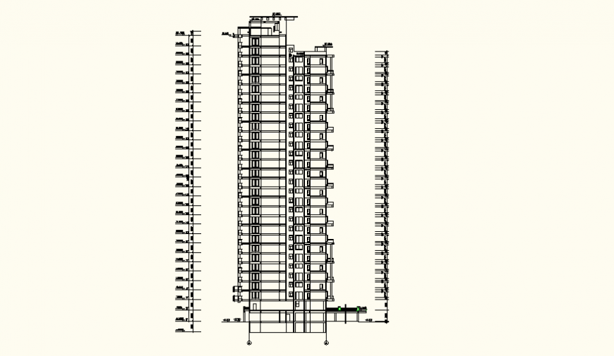 Detail Residential high rise building detail elevation layout plan