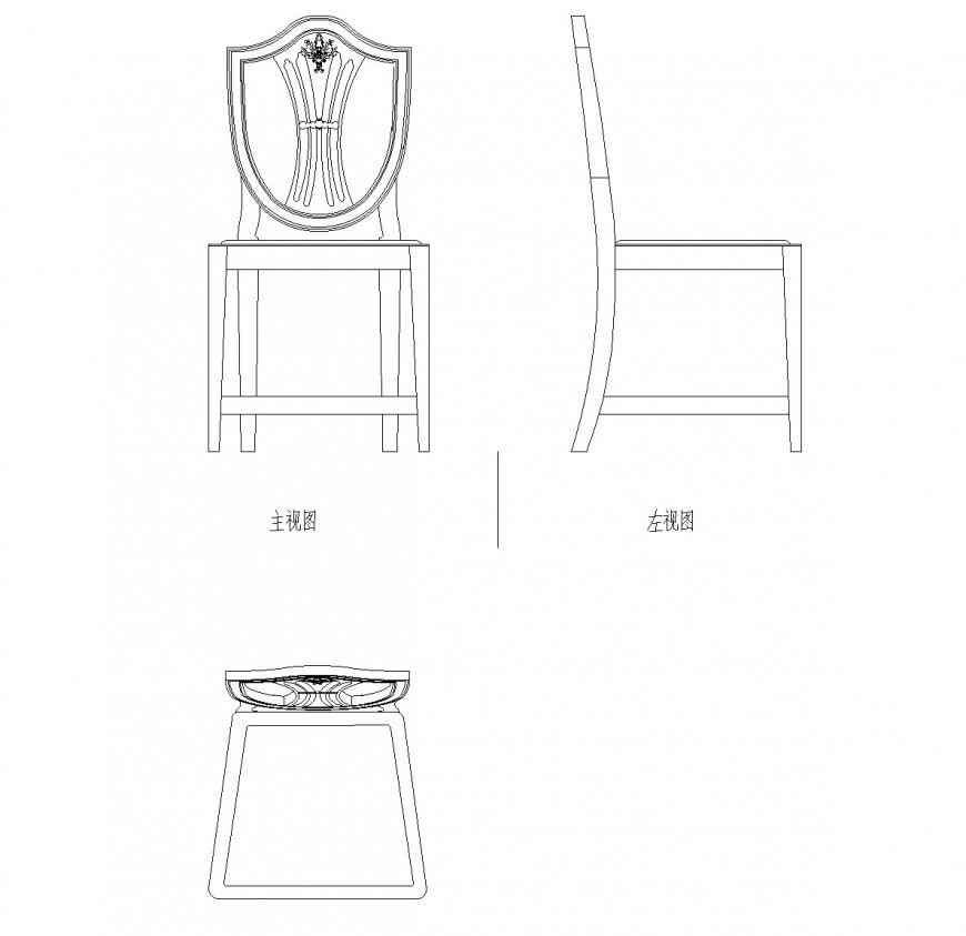 Detail round shape chair dwg file