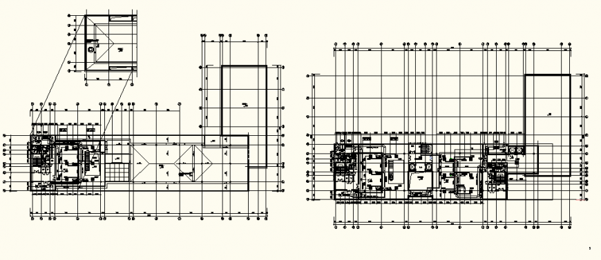 Detail section layout plan of an office building