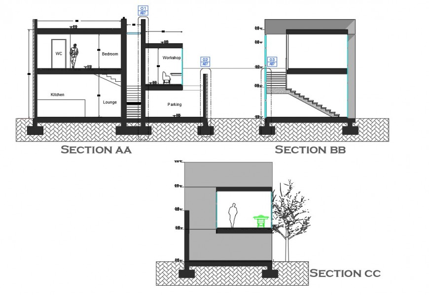 Detail sectional block of housing unit autocad file