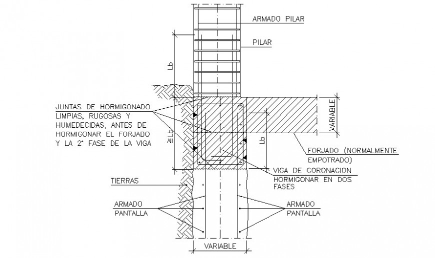 Detail sectional of Column and beam structure AutoCAD file