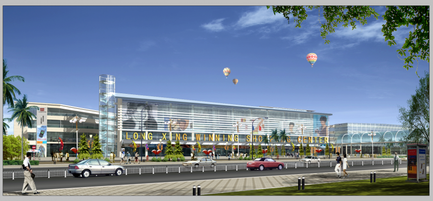 Detail shopping mall building 3d model elevation photo-shop file
