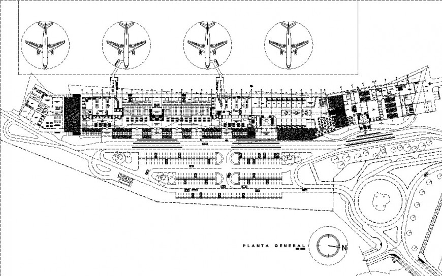 Detail site layout of airport design in dwg file.