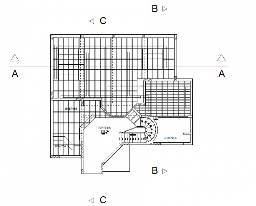 Detail structure of the floor of a house autocad file